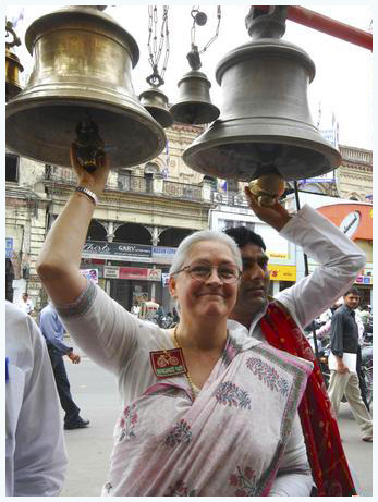 A bell hangs at the gate of Hindu temples
